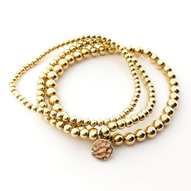 14K GOLD-FILLED BEADED BRACELETS | 3MM, 4MM, 5MM