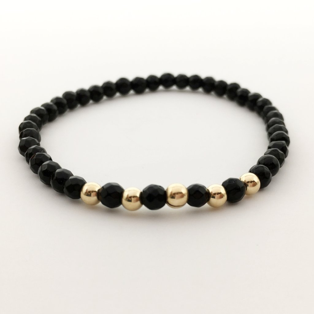 14K GOLD-FILLED ACCENTED BEADED BRACELETS | FOSSIL AGATE, ONYX, EMERALD, GARNET