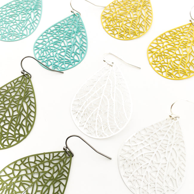 FILIGREE LEAF DROP EARRINGS | COLOR OPTIONS