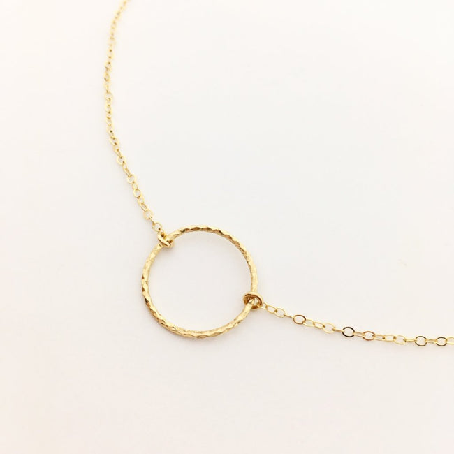 14K GOLD-FILLED TWISTED HOOP NECKLACE