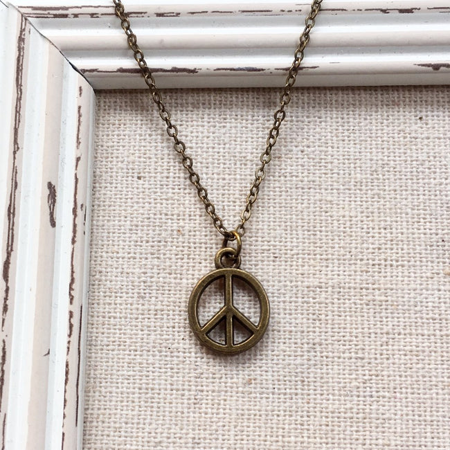 MINI BRONZE PEACE NECKLACE