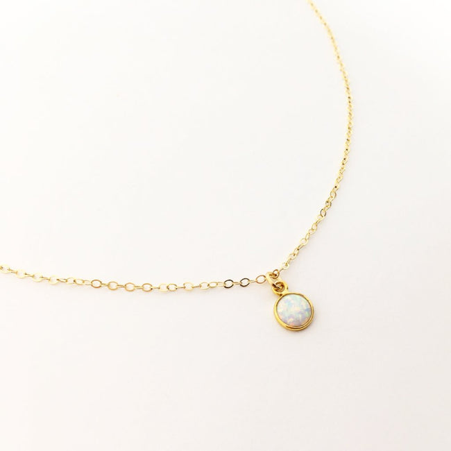 14K GOLD-FILLED LAB OPAL NECKLACE