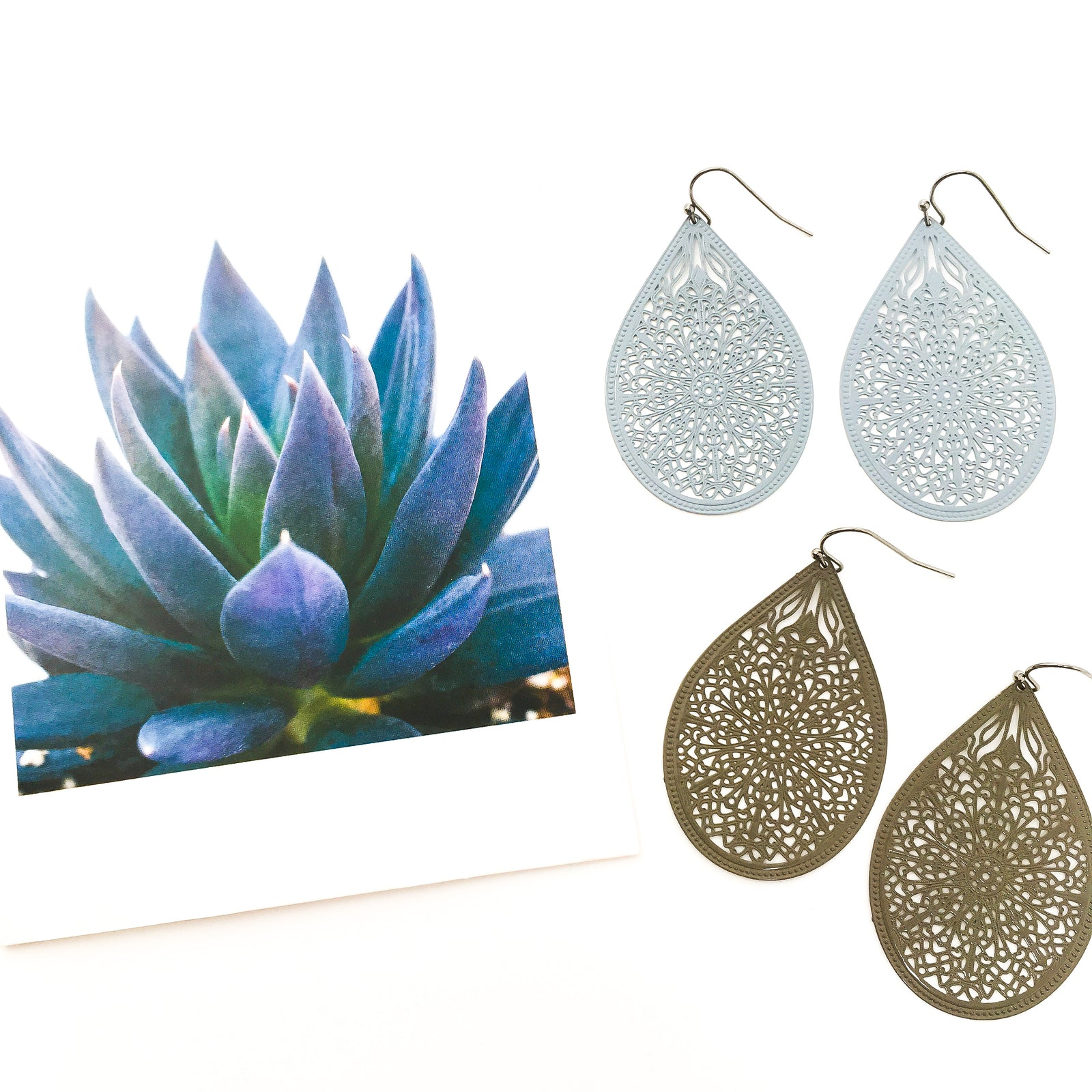 PATTERNED DROP FILIGREE EARRINGS | COLOR OPTIONS