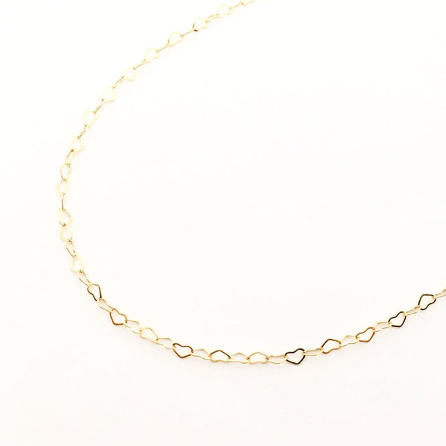 14K GOLD HEART CHAIN NECKLACE