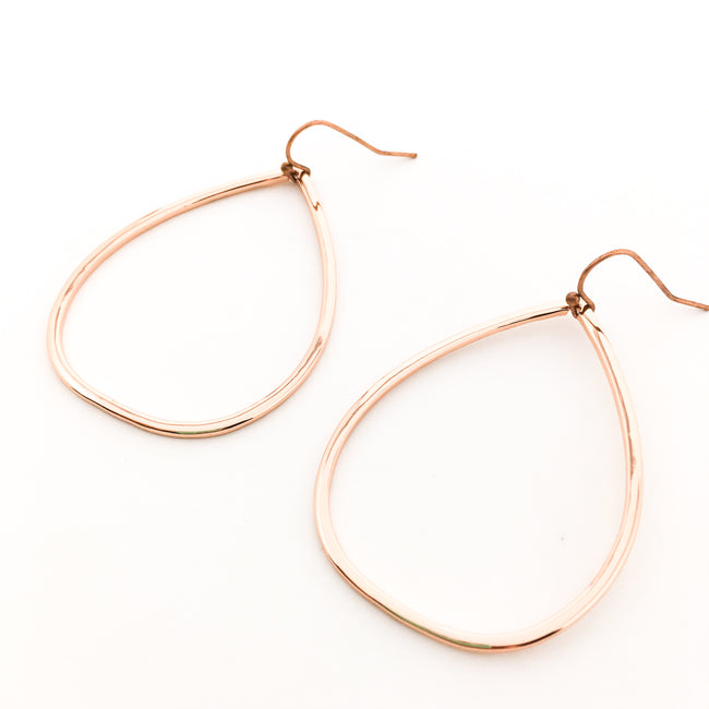 OVAL DROP EARRINGS | ROSE GOLD | TEXTURE OPTIONS