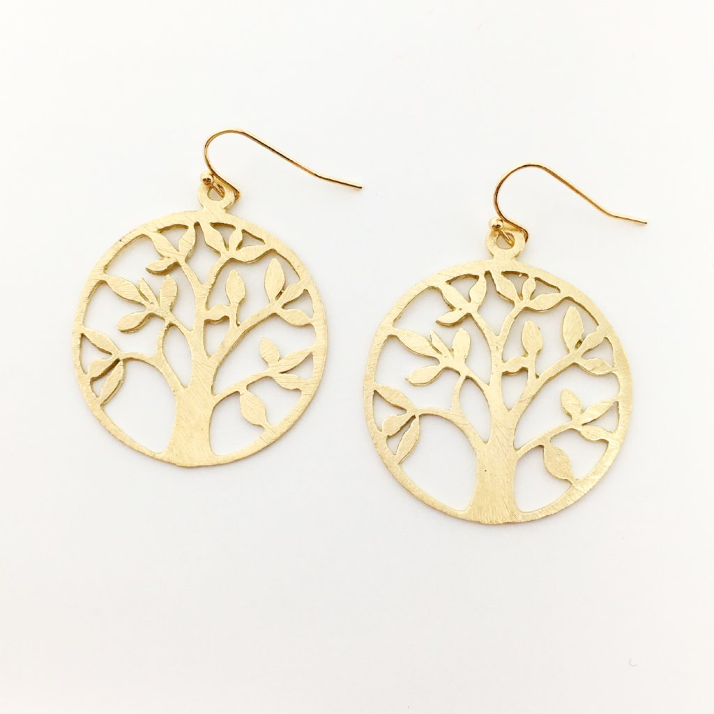 BRUSHED TREE EARRINGS | 14K GOLD-FILLED