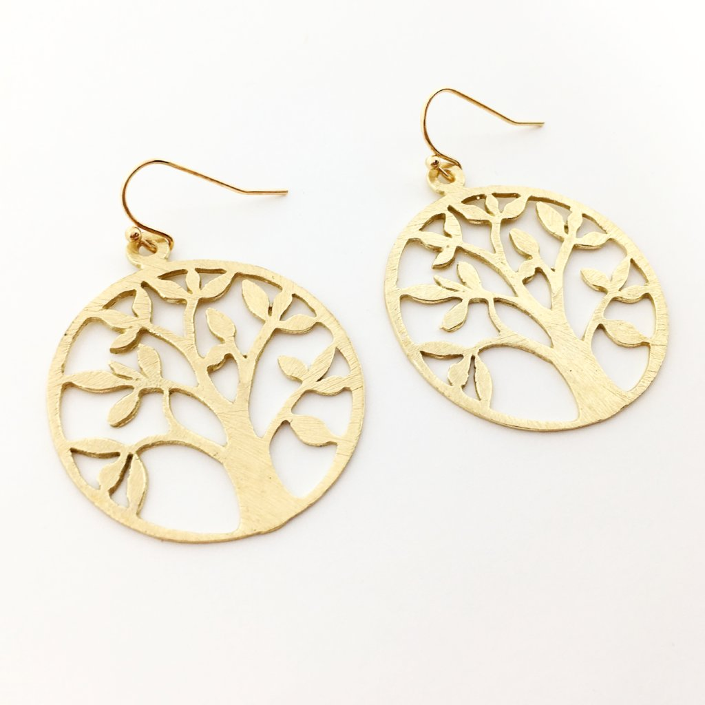 BRUSHED TREE EARRINGS | GOLD