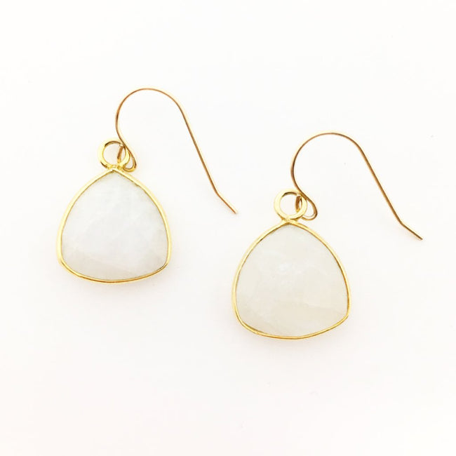 MOONSTONE TRIANGLE EARRINGS | 14K GOLD-FILLED
