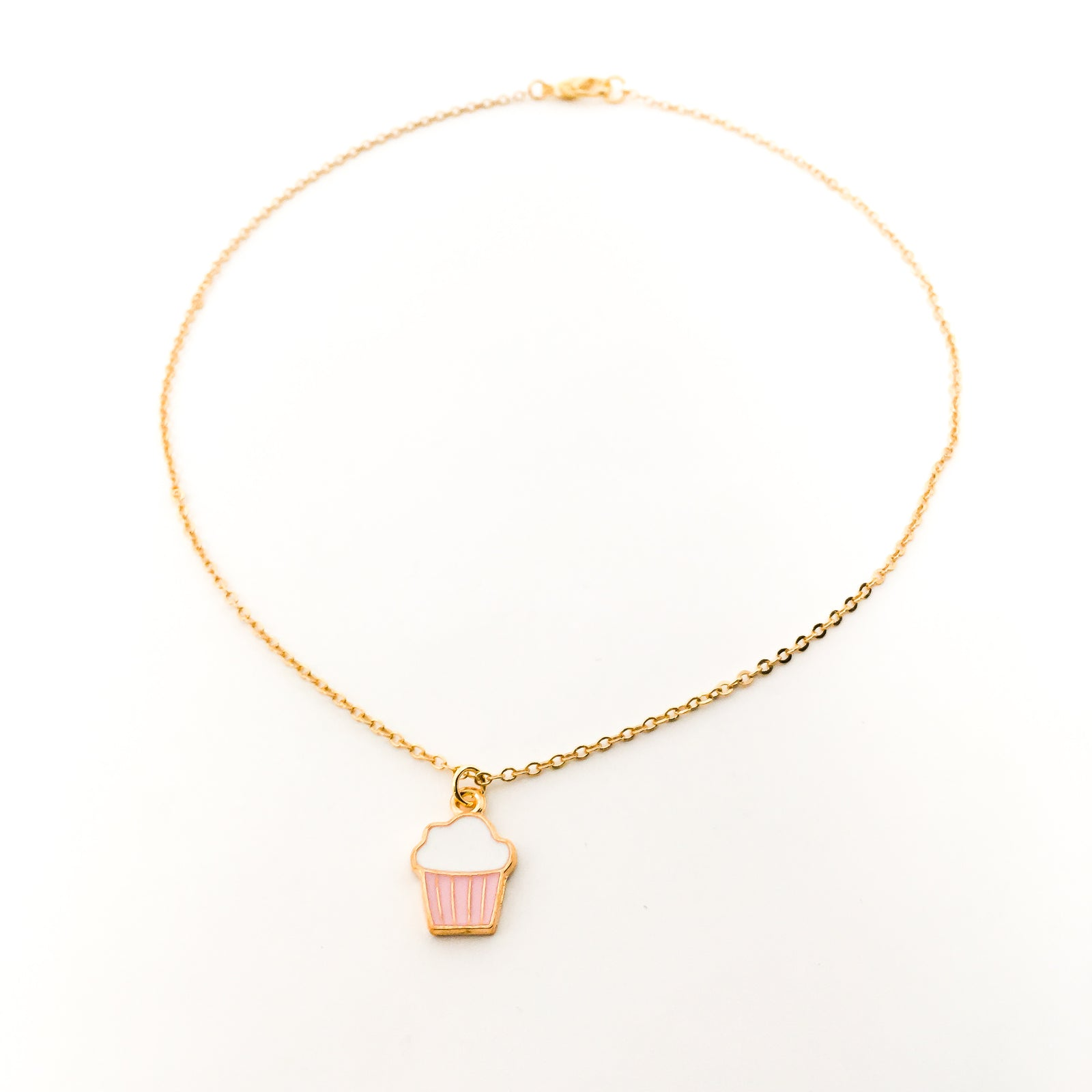 PINK CUPCAKE NECKLACE | GOLD