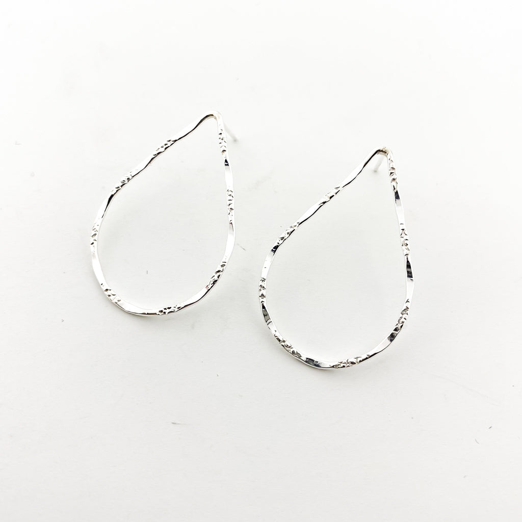 TEXTURED DROP STUD EARRINGS | SILVER | SIZE OPTIONS