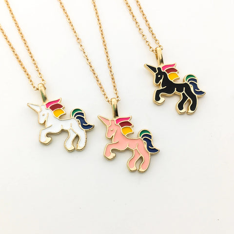 KIDS COLORFUL LLAMA NECKLACE | GOLD