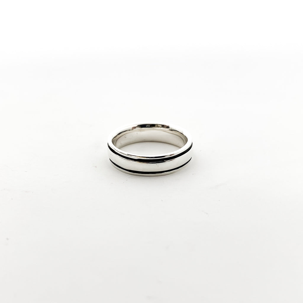 BLACK AND SILVER 6MM GROOVE BAND RING | STERLING SILVER | SIZE OPTIONS