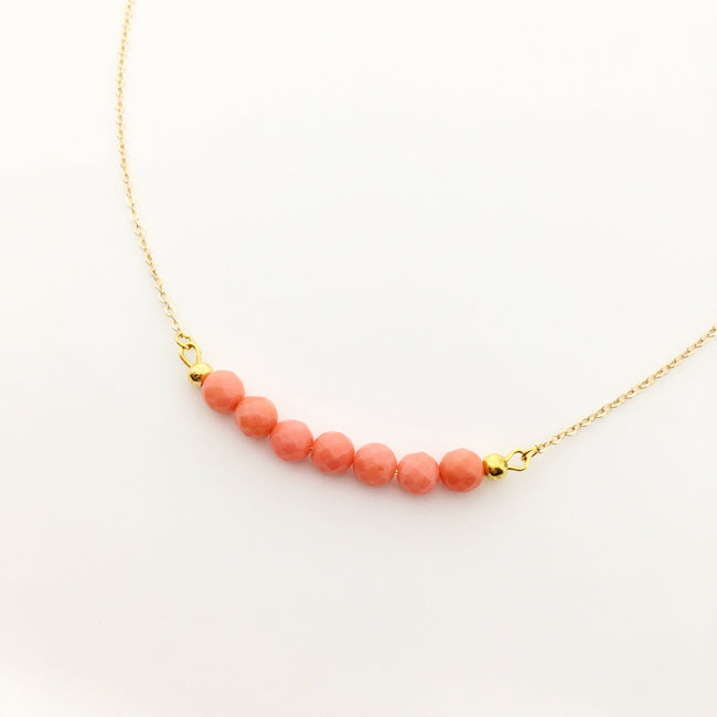 CORAL BEADED BAR NECKLACE | GOLD 8MM