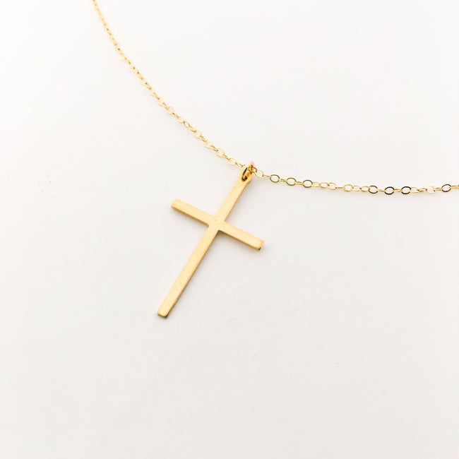 14K GOLD-FILLED LARGE CROSS NECKLACE
