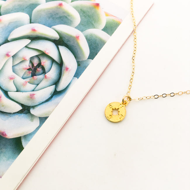 14K GOLD-FILLED COMPASS NECKLACE