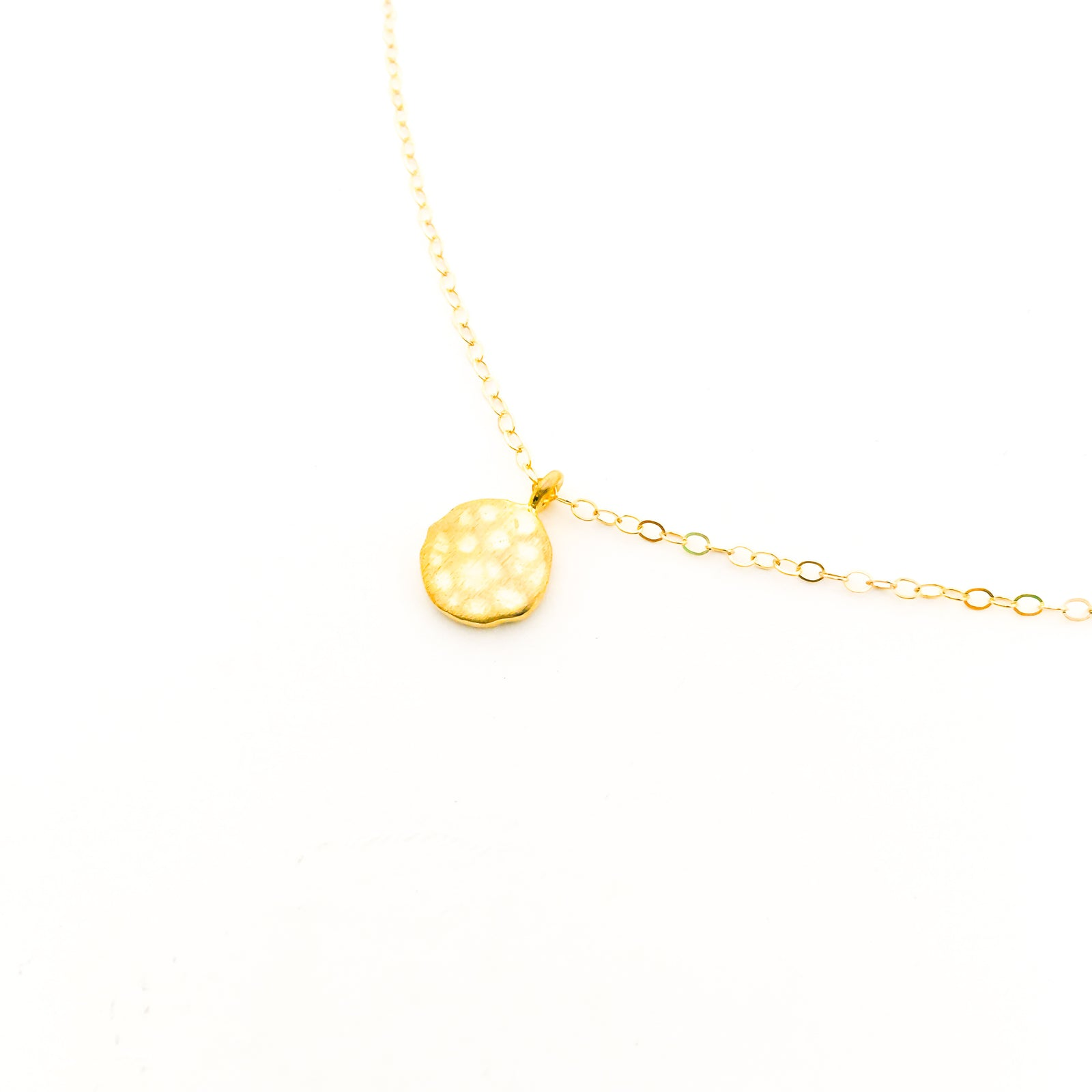 TEXTURED VERMEIL CHARM NECKLACE | 14K GOLD-FILLED