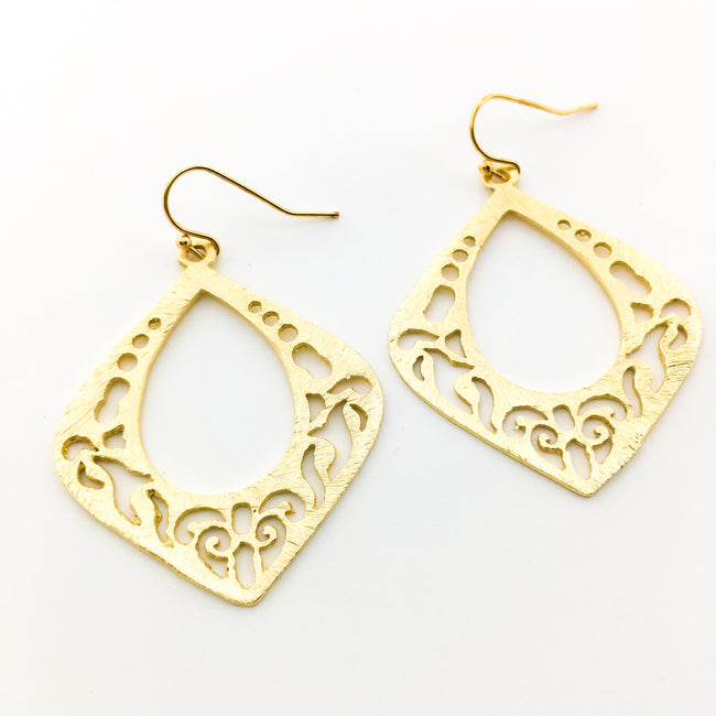 BRUSHED JASMINE DROP EARRINGS | 14K GOLD-FILLED