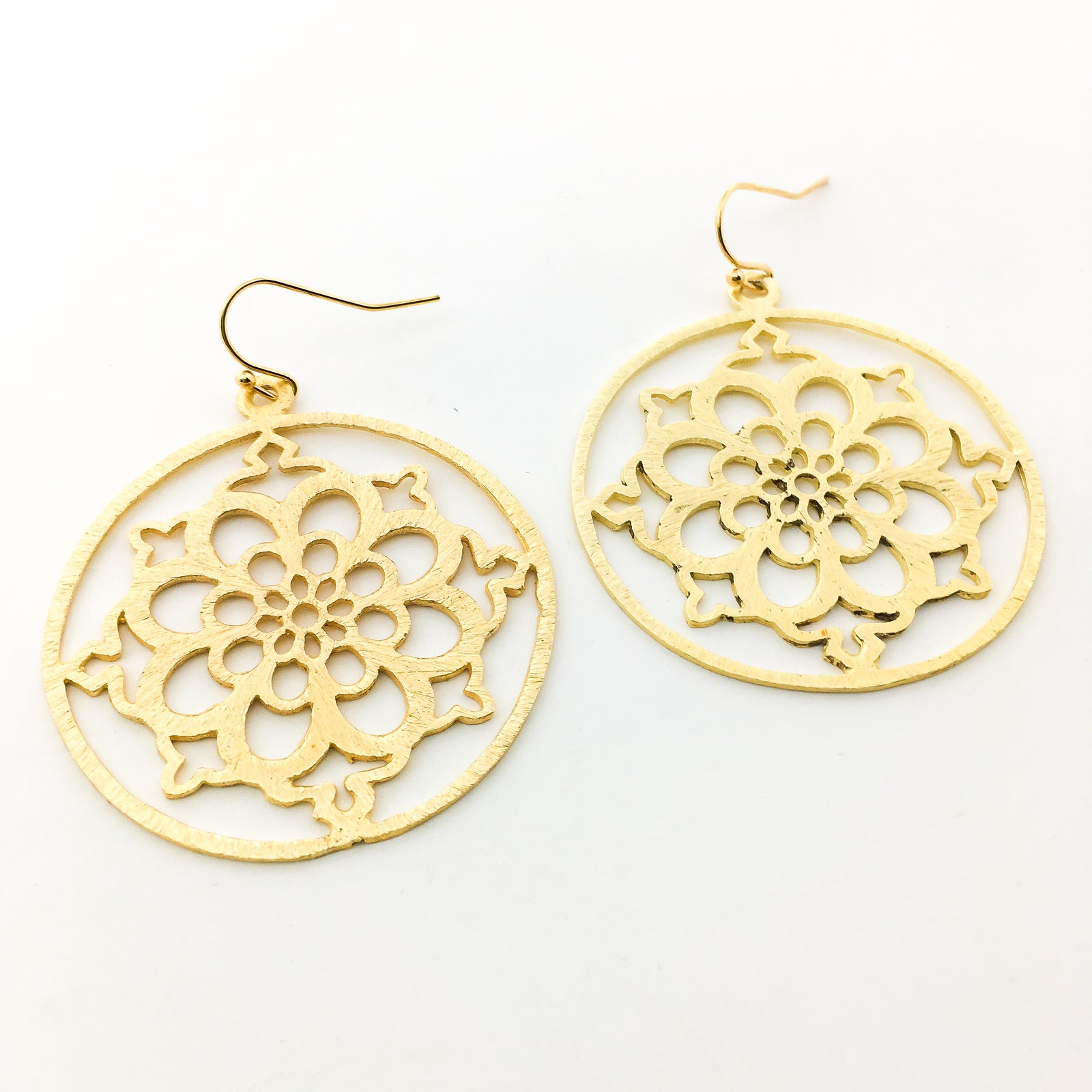 BRUSHED HANGING FLORAL EARRINGS | 14K GOLD-FILLED
