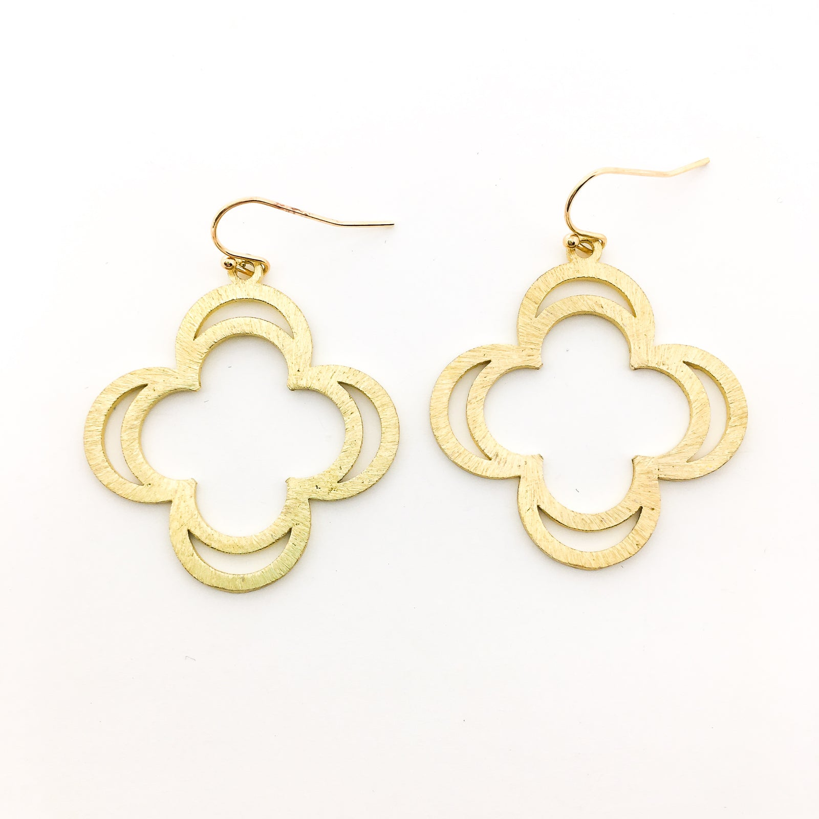 BRUSHED DOUBLE PETAL EARRINGS | 14K GOLD-FILLED