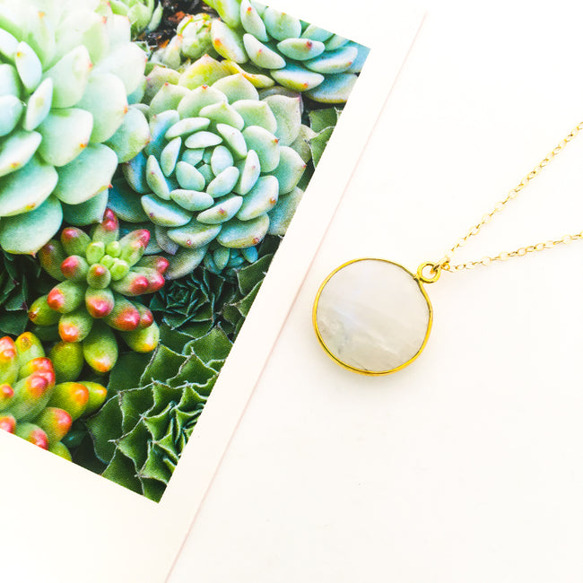 ROUND MOONSTONE DROP NECKLACE | 14K GOLD-FILLED