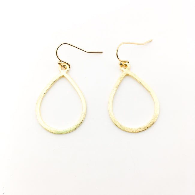 BRUSHED OPEN DROP EARRINGS | 14K GOLD-FILLED
