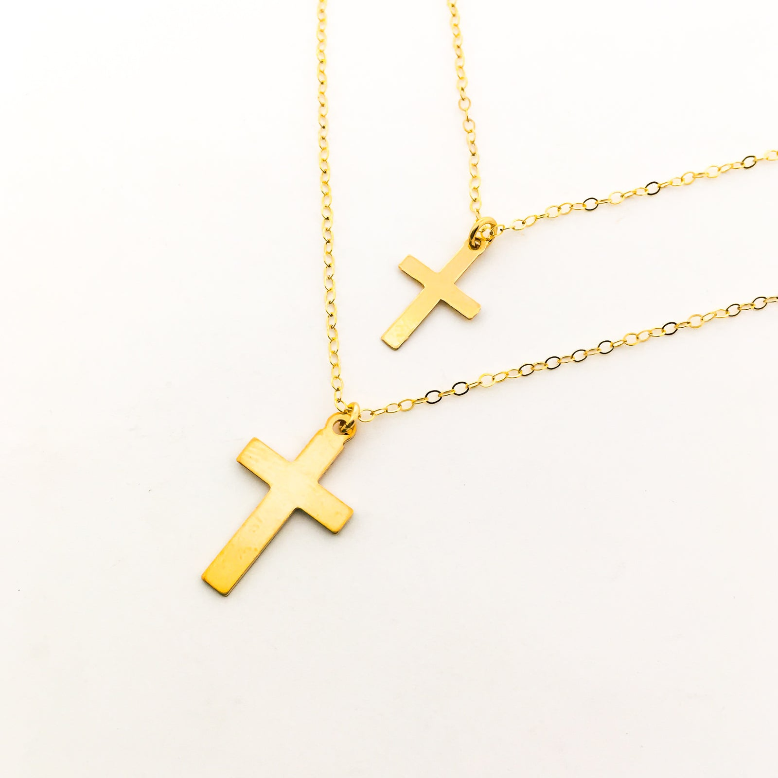 14K GOLD-FILLED CROSS NECKLACES | SIZE OPTIONS