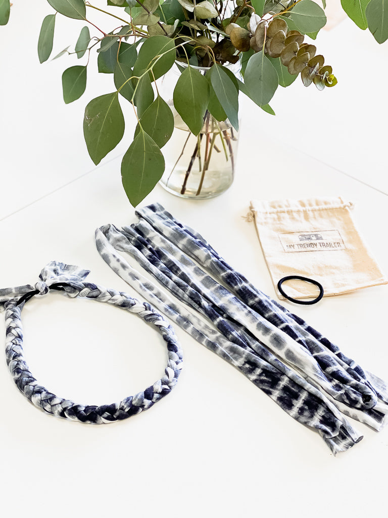 HEADBAND MAKING KIT | TIE DYE BLUE & WHITE