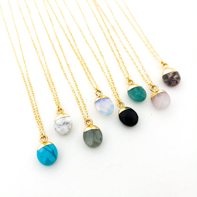 14K GOLD-FILLED DROP STONE NECKLACES | STYLE OPTIONS