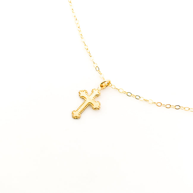 DAINTY TEXTURED CROSS NECKLACE | 14K GOLD-FILLED