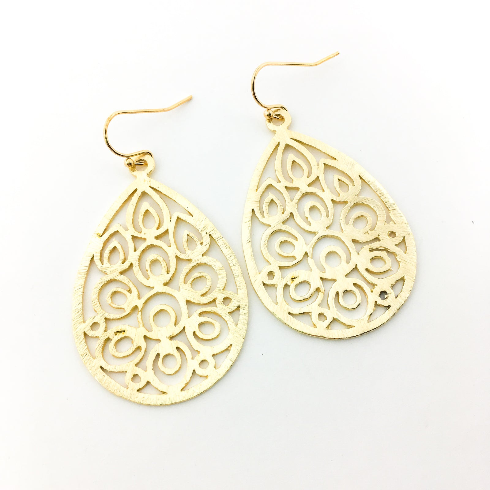 BRUSHED FLORAL DROP EARRINGS | 14K GOLD-FILLED