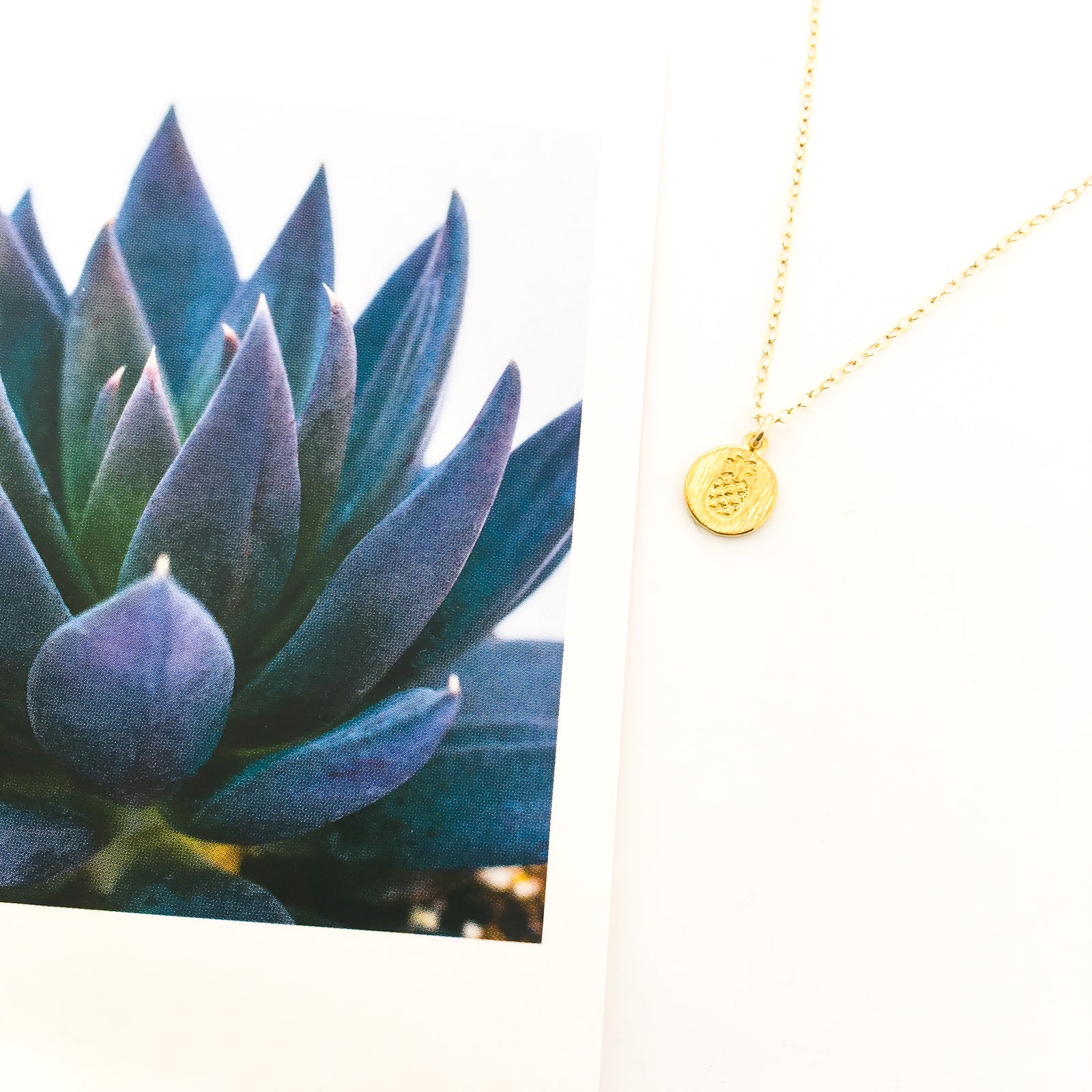 MINI STAMPED PINEAPPLE CHARM NECKLACE | 14K GOLD-FILLED CHAIN