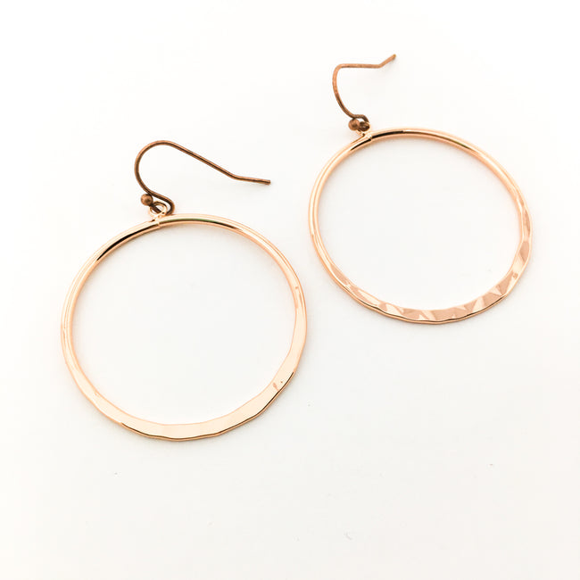 HAMMERED HOOP EARRINGS | 14K ROSE GOLD-FILLED | SMALL