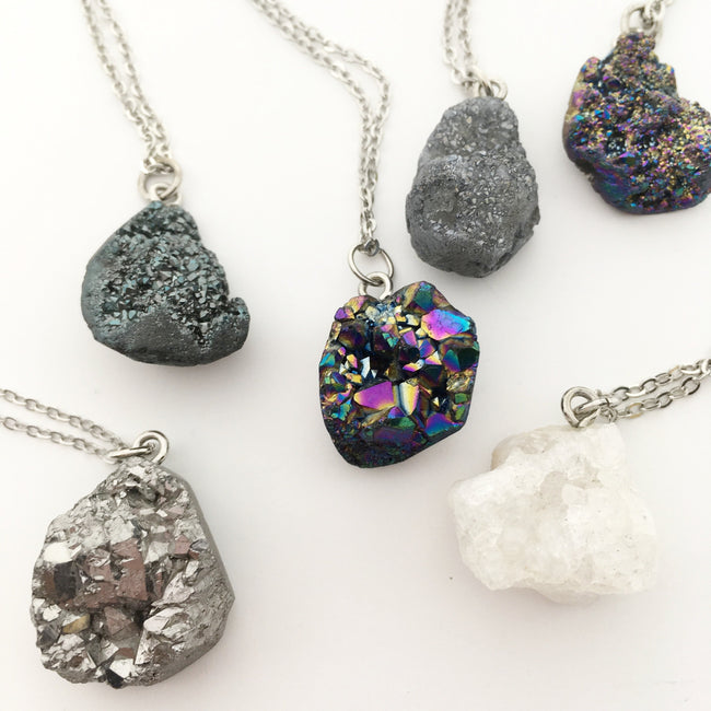 DRUZY NUGGET NECKLACES | SILVER | 24""