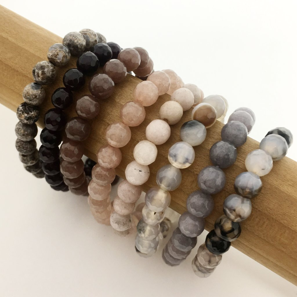 FACETED AGATE STONE BRACELETS | 8MM | COLOR OPTIONS
