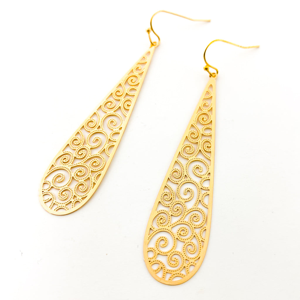 FILIGREE LONG SPIRAL DROP EARRINGS | STYLE OPTIONS