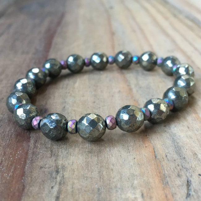 PYRITE WITH HEMATITE SPACERS | 8MM