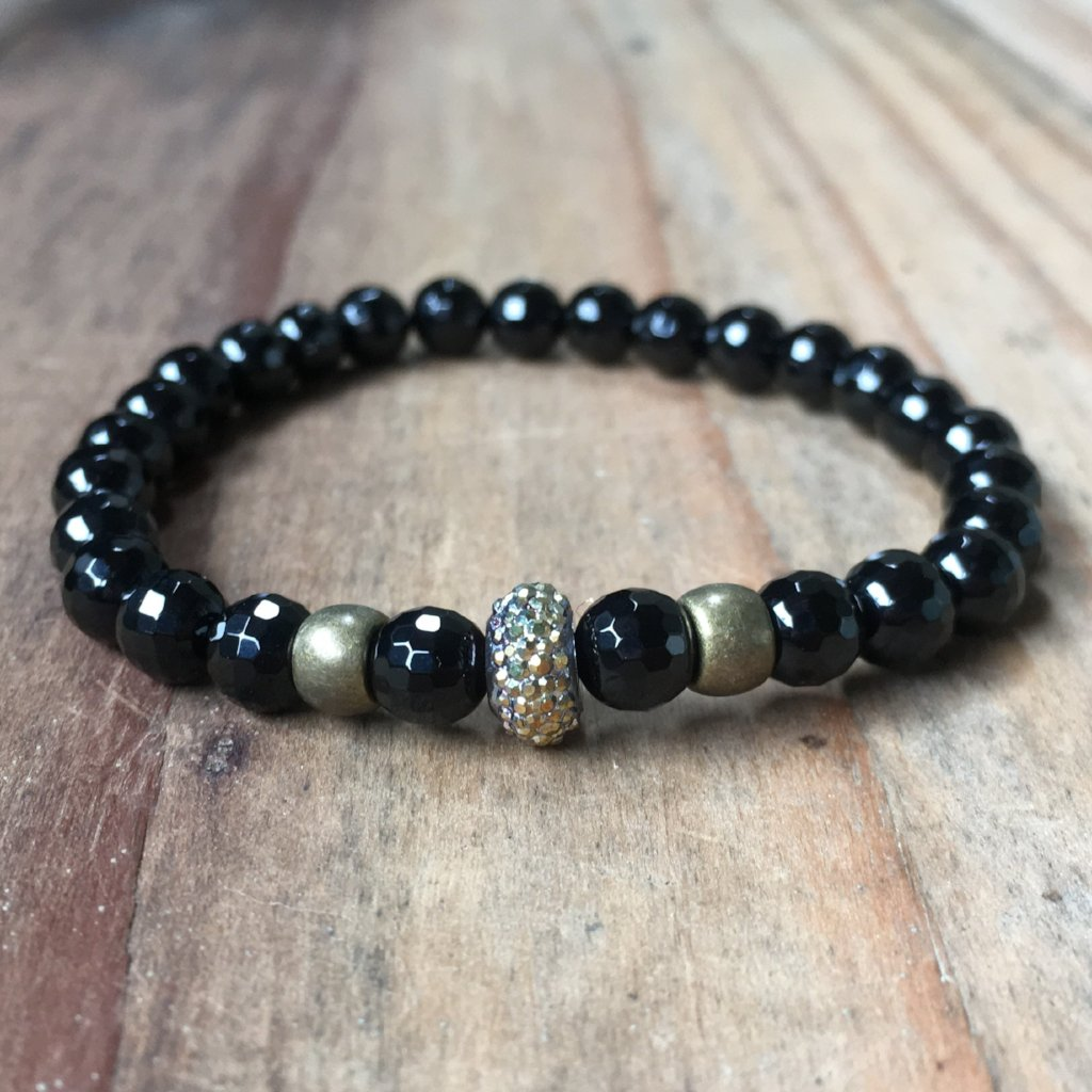 ONYX FACETED CROWN STONE BRACELET | 6MM