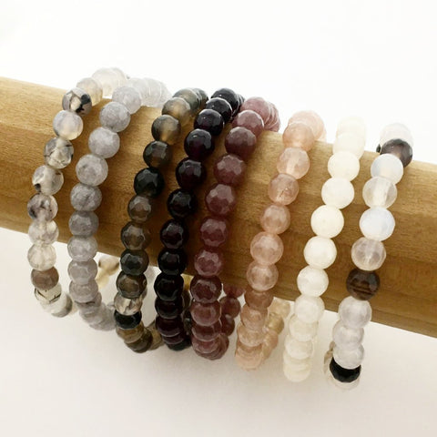 CREAM HOWLITE & GOLD STACKER | 4MM