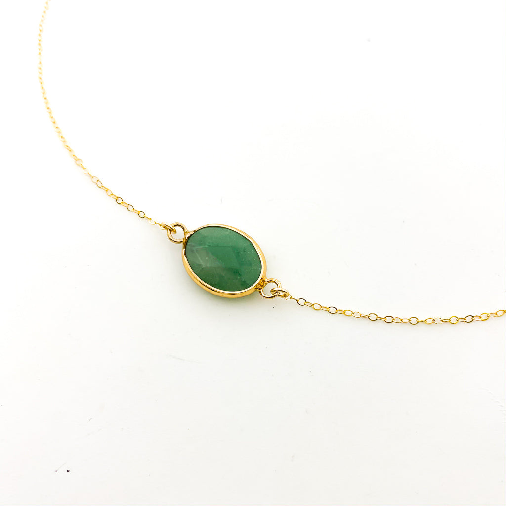 14K GOLD-FILLED LARGE HELD STONE NECKLACES | STYLE OPTIONS