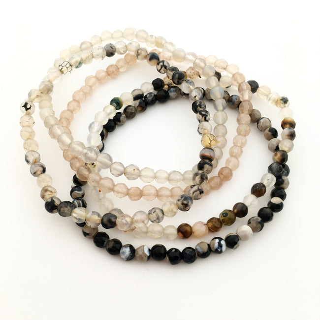 FACETED AGATE STONE BRACELETS | 4MM | COLOR OPTIONS