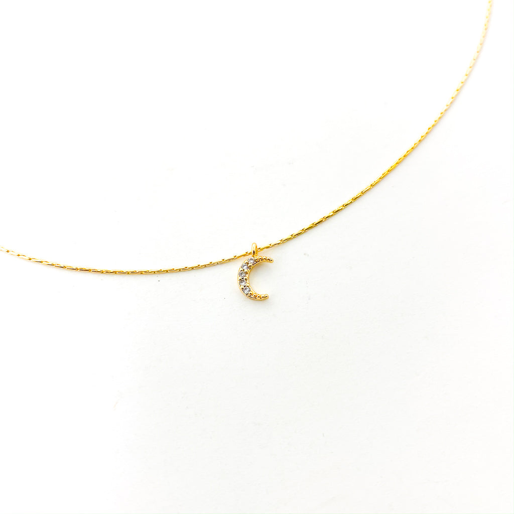 MINI RHINESTONE MOON NECKLACE | SMOOTH CHAIN | 14K GOLD-FILLED