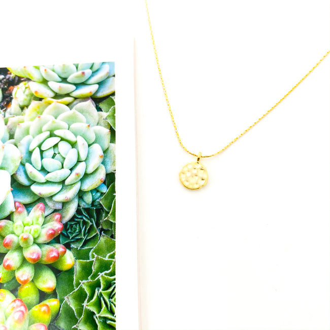 TEXTURED VERMEIL CHARM NECKLACE | SMOOTH CHAIN | 14K GOLD-FILLED