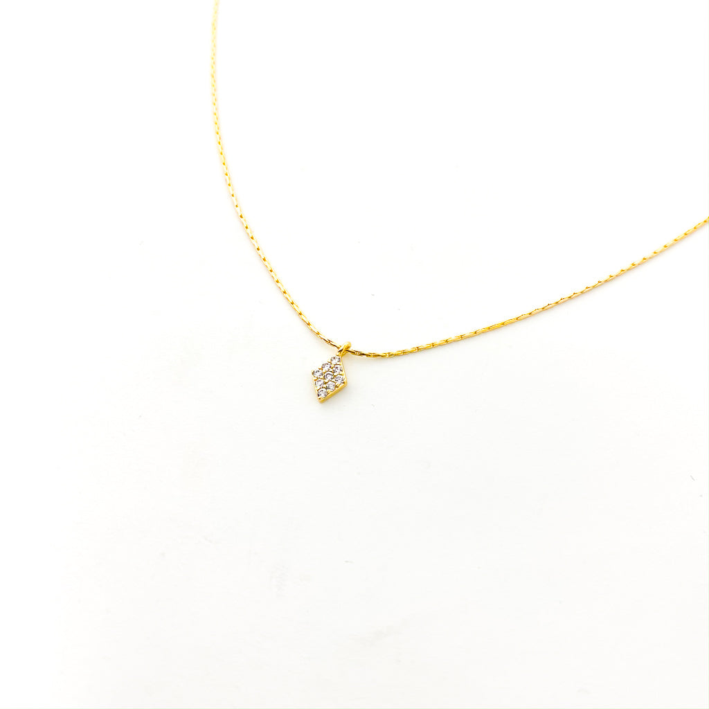 DAINTY HANGING DIAMOND NECKLACE | SMOOTH CHAIN | 14K GOLD-FILLED
