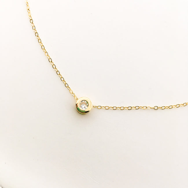 14K GOLD-FILLED HELD RHINESTONE NECKLACE