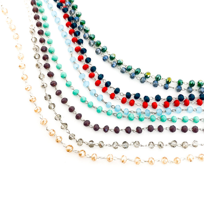 BEADED GEM & SILVER CHAIN ANKLETS | STYLE OPTIONS | STERLING SILVER