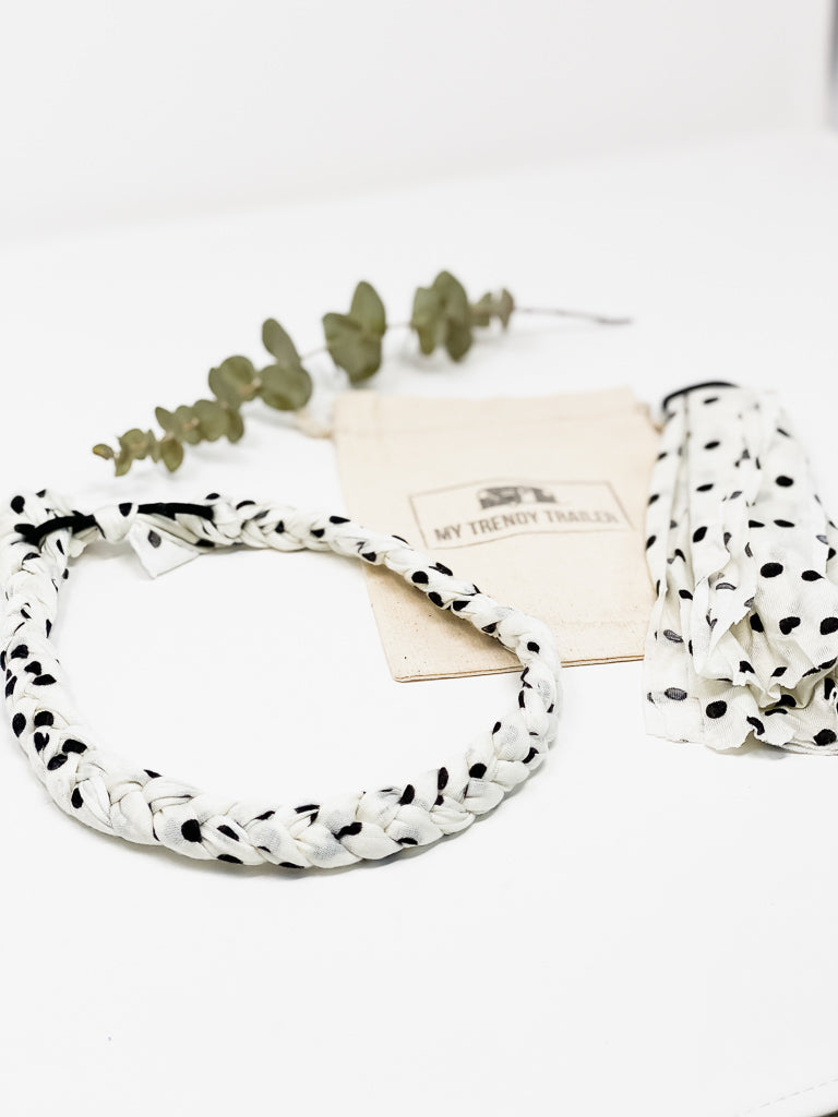 HEADBAND MAKING KIT | WHITE POLKA DOT