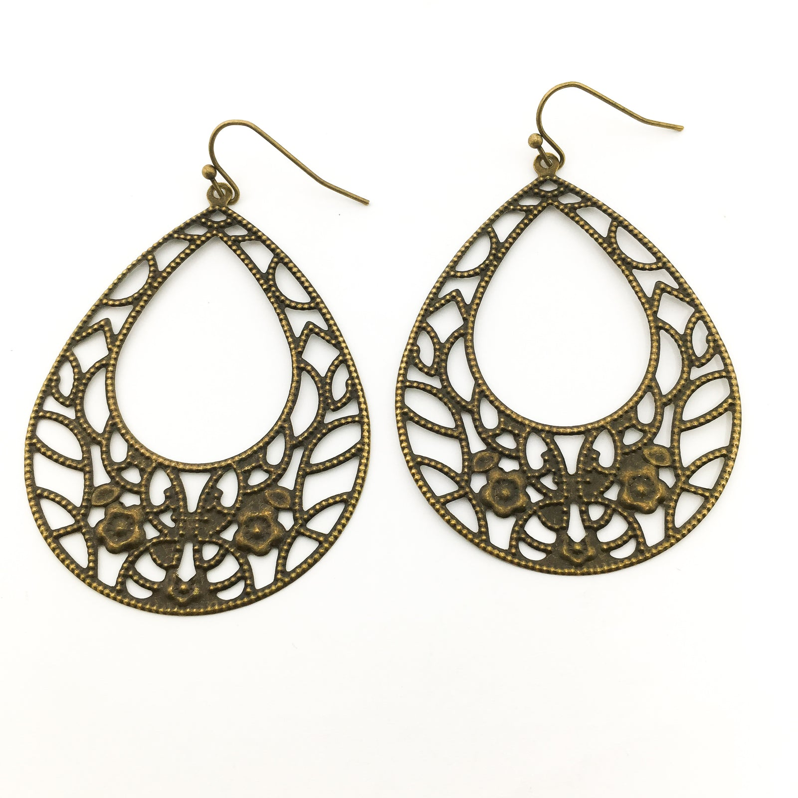 FLORAL OPEN DROP FILIGREE EARRINGS | BRONZE