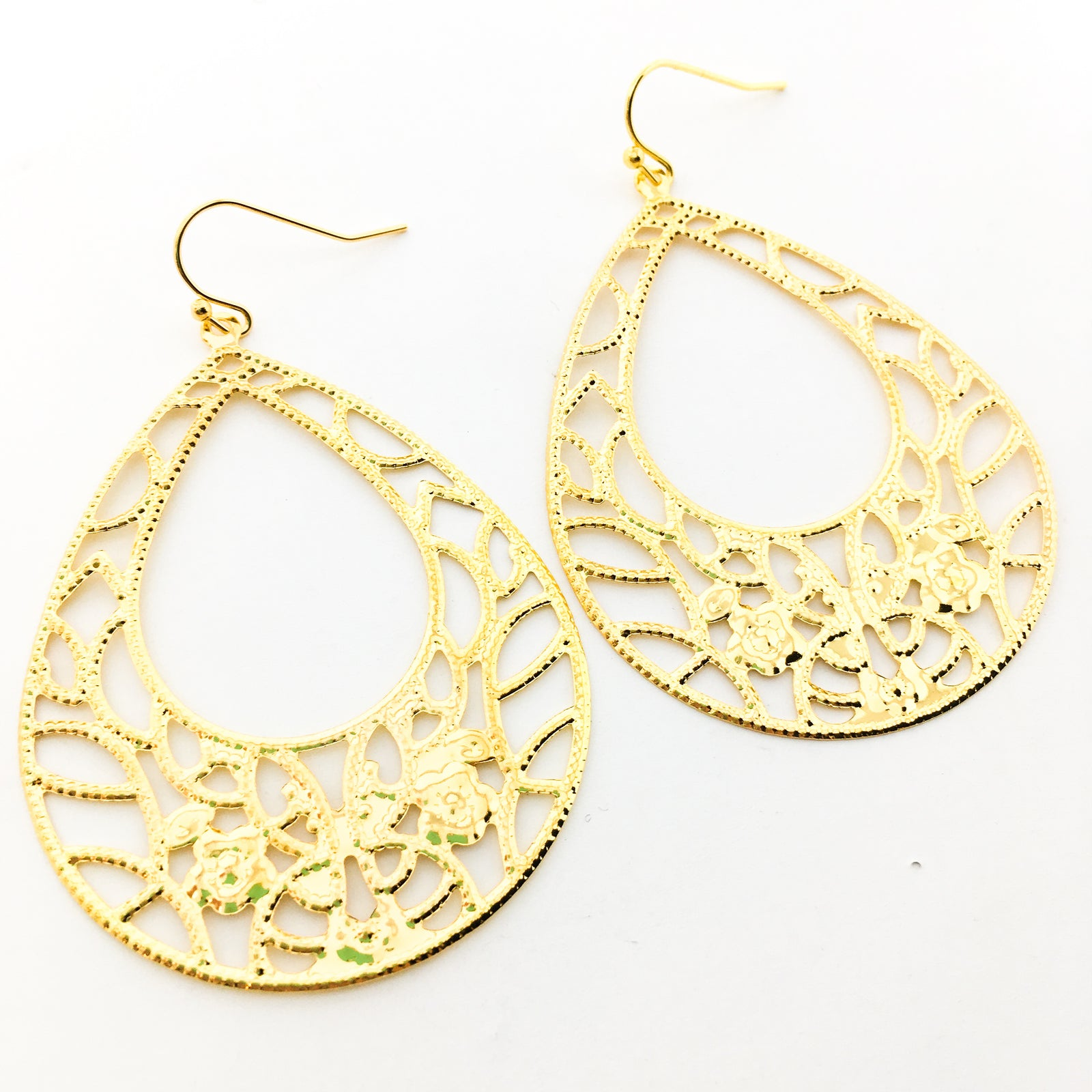 FLORAL OPEN DROP FILIGREE EARRINGS | GOLD