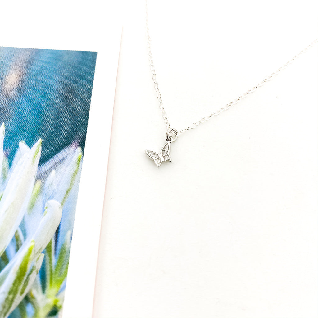 CRYSTAL BUTTERFLY NECKLACE | STERLING SILVER