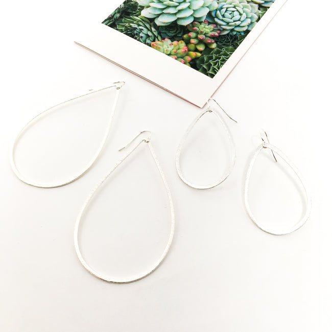 BRUSHED HANGING OPEN DROP EARRINGS | STERLING SILVER | SIZE OPTIONS